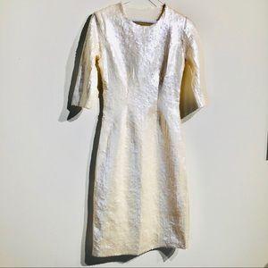 Off White Sequin 3/4 Sleeve Midi Dress